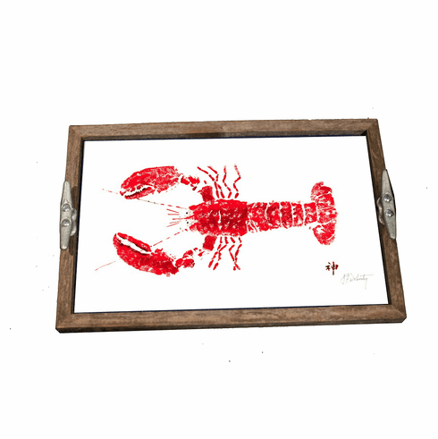 Gyotaku Red Lobster Driftwood Tray
