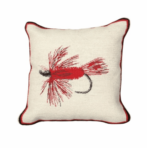 """""""Hair Wing Fly"""" Mixed-Stitch Needlepoint Pillow"""