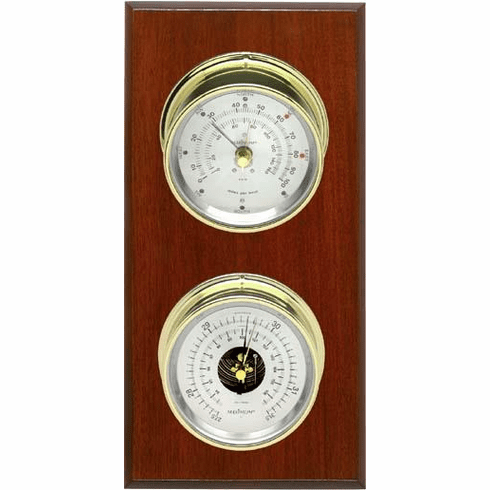 Hatteras Brass, Silver Dials & Mahogany Weather Station