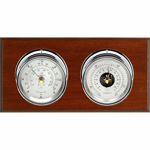 Hatteras Chrome, Silver Dials & Mahogany Weather Station
