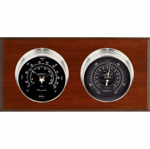 Hatteras Nickle, Black Dials & Mahogany Weather Station
