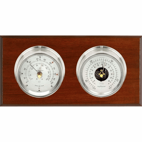Hatteras Nickle, Silver Dials & Mahogany Weather Station