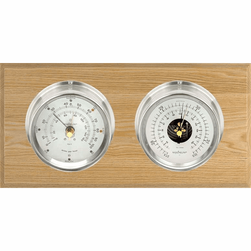 Hatteras Nickle, Silver Dials & Oak Weather Station