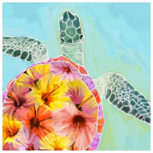 Hibiscus Sea Turtle Wrapped Canvas