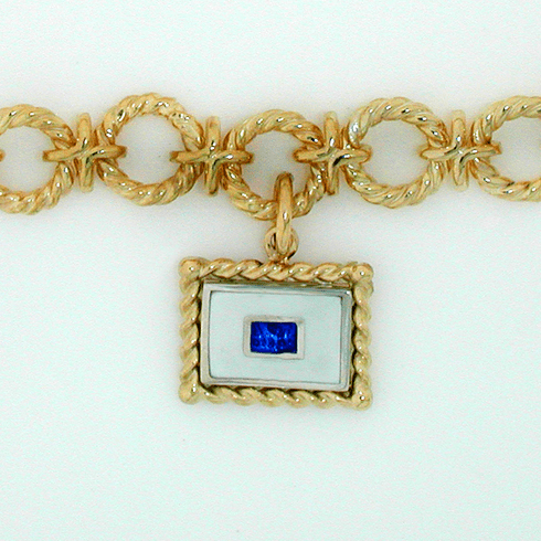 Initial Flag Pendant with Rope Frame