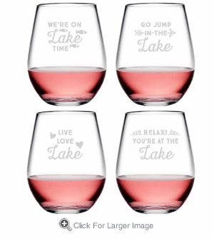 Lake Talk Assortment Tritan Shatterproof Stemless Wine Tumblers - Click to enlarge