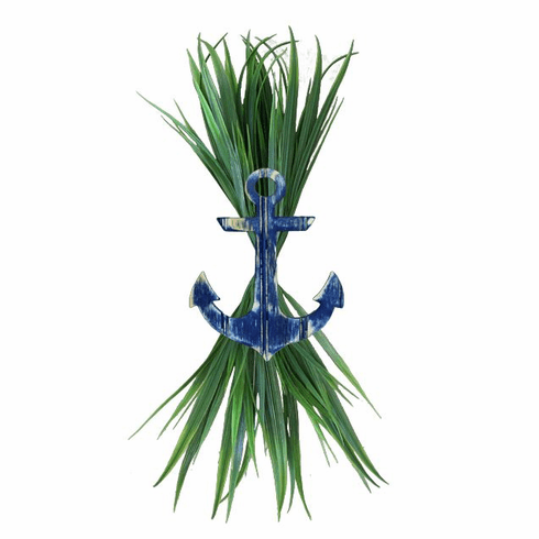 Large Navy Anchor with Sea Grass
