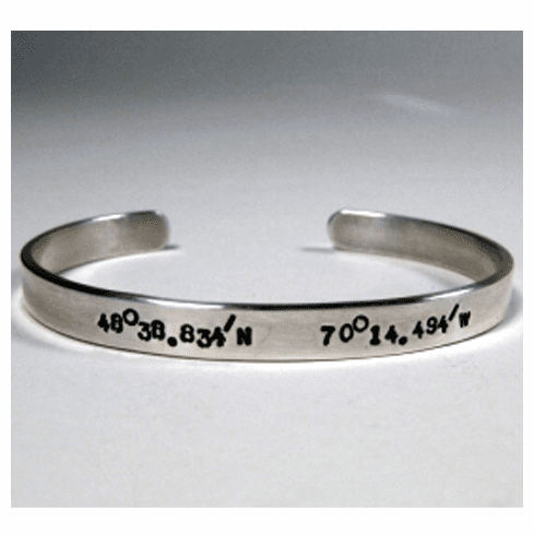 Latitude and Longitude 6mm Women's Cuff Bracelet