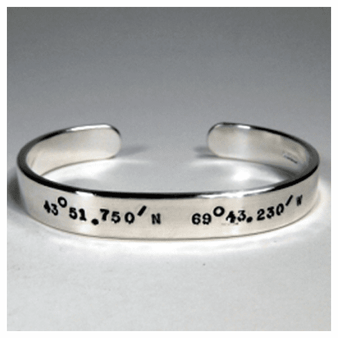Latitude and Longitude 8mm Women's Cuff Bracelet