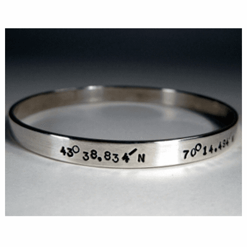 Latitude and Longitude 6mm Bangle Bracelet