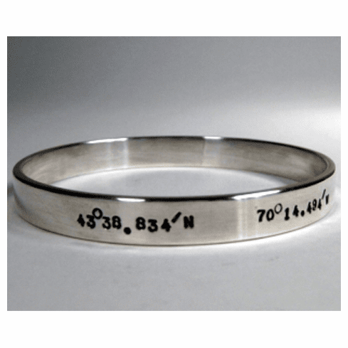 Lattitude and Longitude 8mm Bangle Bracelet