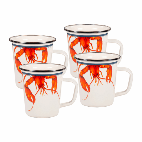 Lobster Enamel Latte  Mug - set of 4