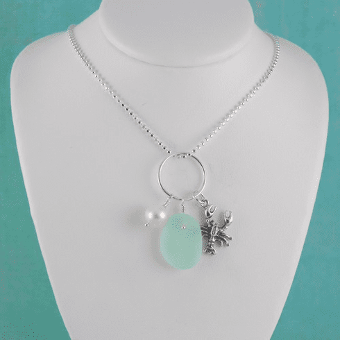 Lobster Sea Glass Charm Necklace