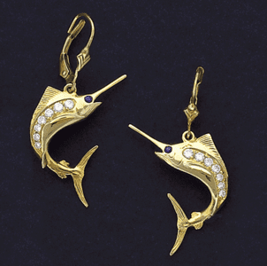 Marlin Earrings with Diamond Side