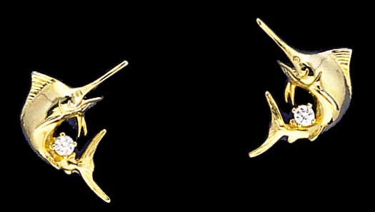 Marlin Post Earrings with Diamonds