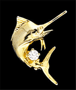 Marlin Tie Tack with Diamond