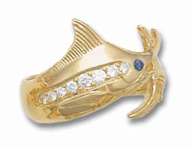 Marlin Wrap Ring with Diamond Side