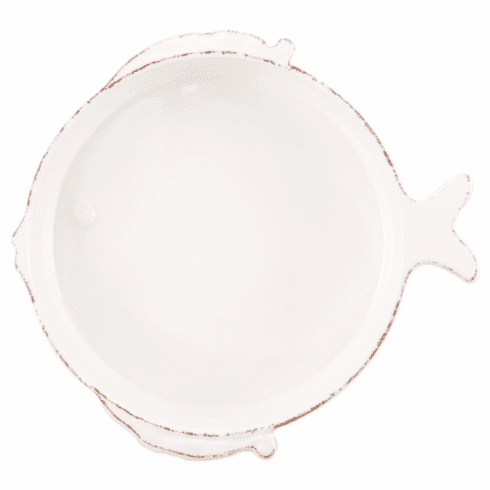Melamine Lastra Fish White Medium Serving Bowl