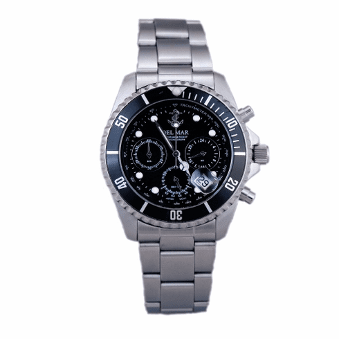 Men's Black Anchor Dial Chronograph Watch