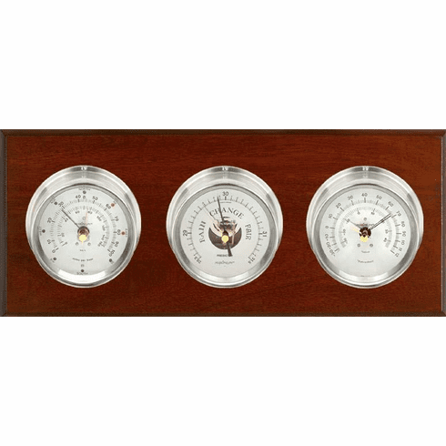 Montauk Nickle, Silver Dials & Mahogany Weather Station