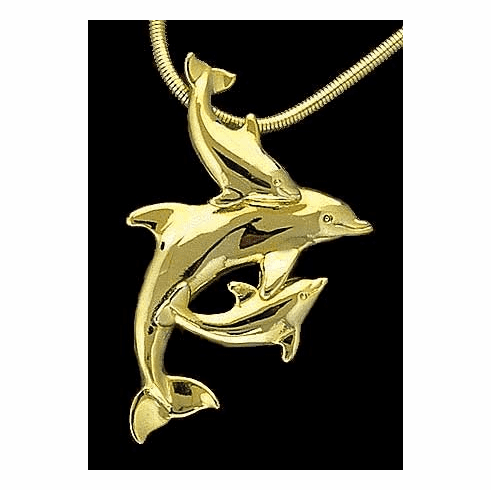 Mother & Two Babies Dolphin Pendant