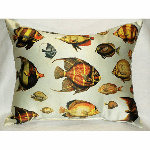 Multi-Fish Antique Print Indoor and Outdoor Pillow