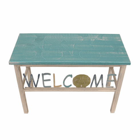 Multi-Shell Turquoise Welcome Bench