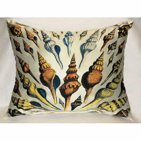 Multi-Shells Antique Print Indoor and Outdoor Pillow