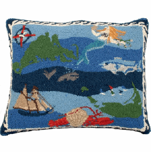 Nantucket Hooked Wool Pillow