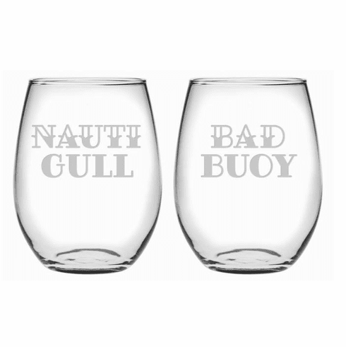 Nauti Gull & Bad Buoy Stemless Wine Glasses