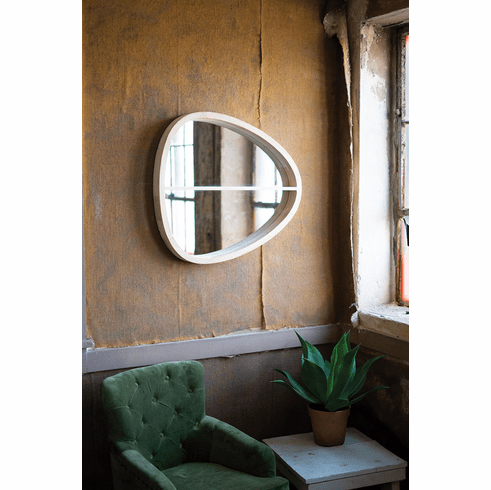 Oval Wooden Wall Mirror with Shelf