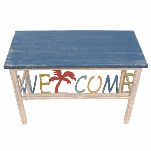 Palm Tree Blue China Welcome Bench