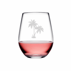 Palm Tree Cluster Tritan Shatterproof Stemless Wine Tumblers - Click to enlarge