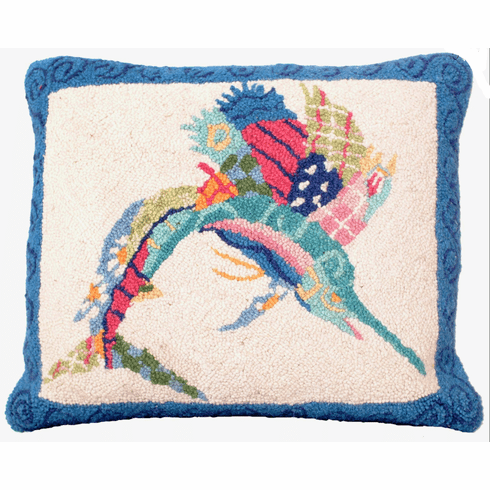Patchwork Sailfish Hooked Pillow