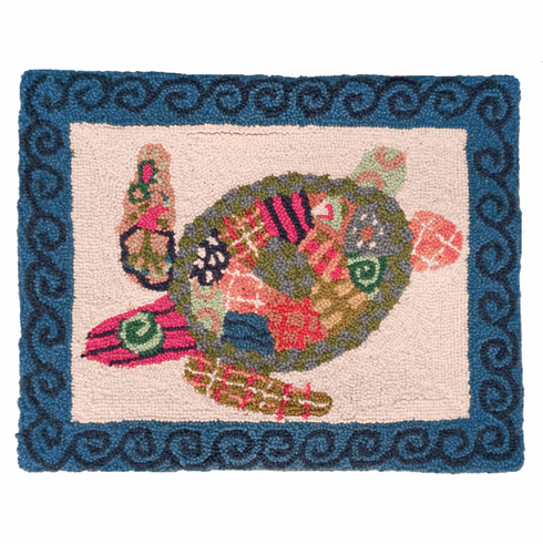 Patchwork Sea Turtle Hooked Pillow