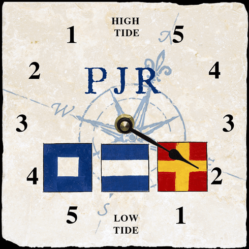 Personalized Nautical Flag Tide Clock