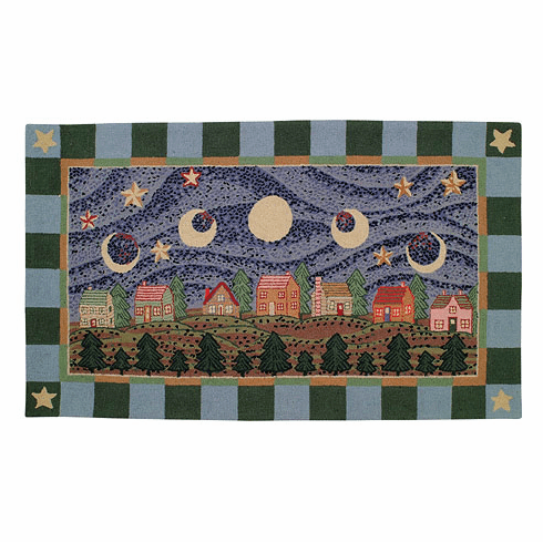 Phases of the Moon Petit Point Hooked Rug