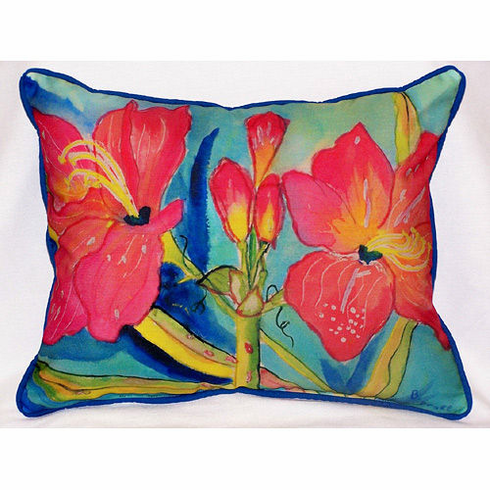 Pink Amaryllis Indoor and Outdoor Pillow