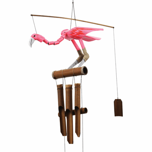 Pink Flamingo Bobbing Head Wind Chime