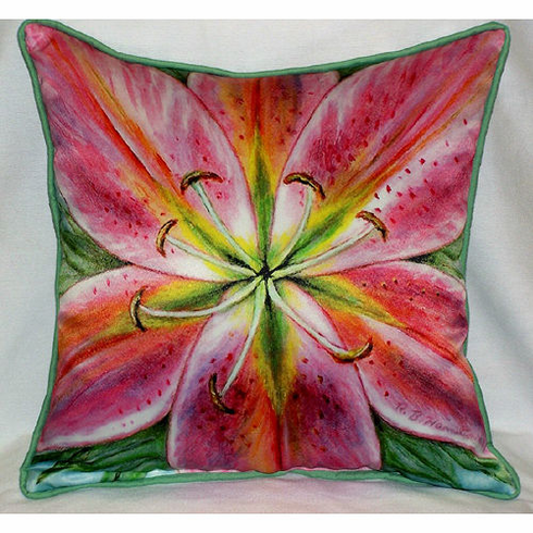 Pink Lily Indoor and Outdoor Pillow