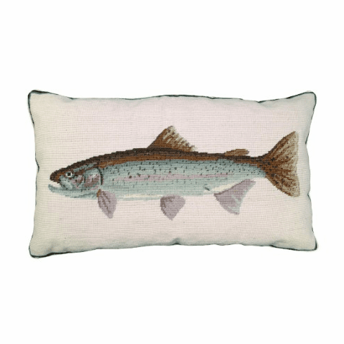 Rainbow Trout Needlepoint Pillow