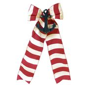 Red Cabana Stripe with Navy Anchor