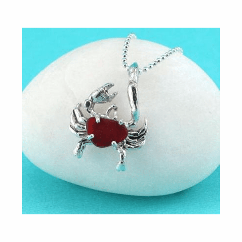 Red Sea Glass Crab Necklace