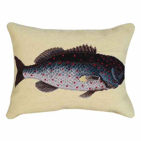 Rock Fish Needlepoint Pillow<br > Free Shipping!