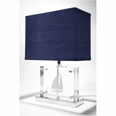 Sailboat Lamp with Navy Woven Shade
