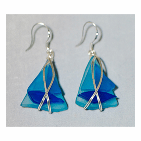 Sailboat Sea Glass Earrings - blue