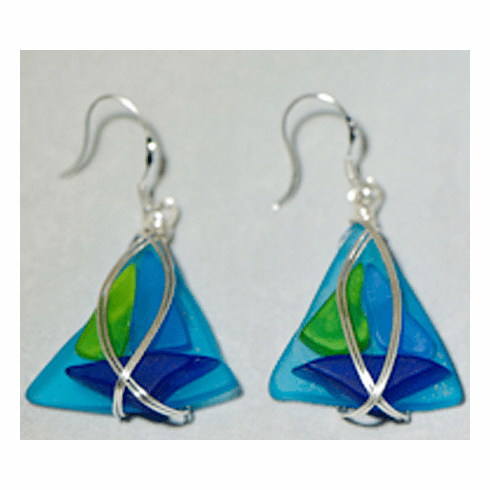 Sailboat Sea Glass Earrings - turquoise