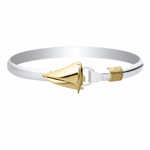 Sailboat with Rope Bracelet-Sterling & 14K Yellow Gold
