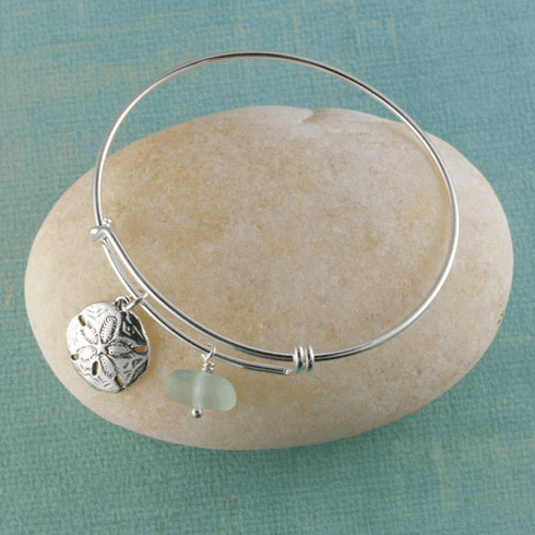 Sand Dollar Sea Glass Bangle Bracelet