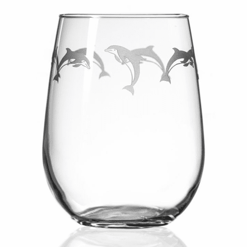 School of Dolphin Stemless Wine Glasses